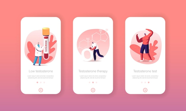 Testosterone mobile app page onboard screen template