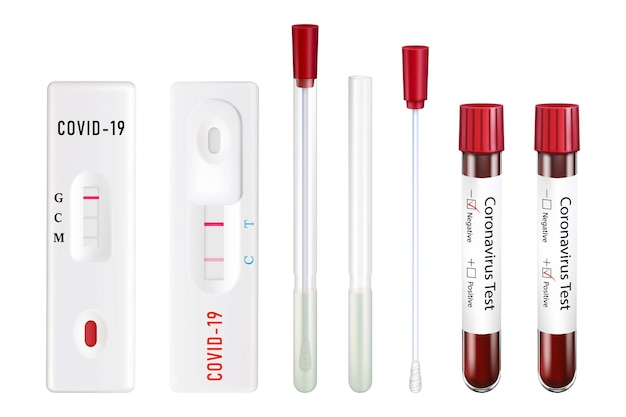 Tests for coronavirus. sterile test tube with cotton swab for specimens, test tube with blood, rectangular express test. positive and negative. vector set of 3d realistic illustration.