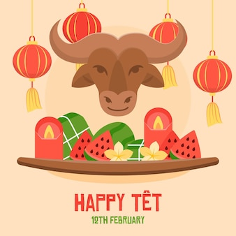 Tet illustration with bull and watermelon