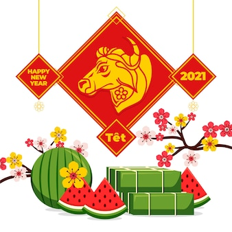 Tet illustration with watermelon and bull