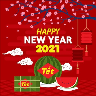 Tet illustration with watermelon and greeting