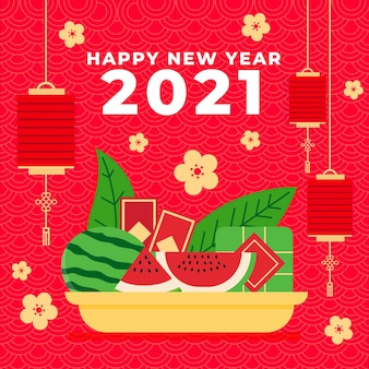 Tet illustration with watermelon