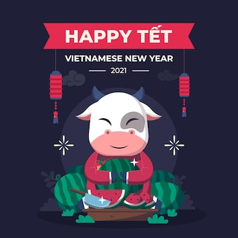 Têt vietnamese new year in flat design