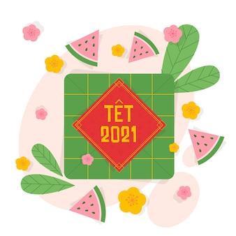 フラットなデザインのテトベトナムの新年