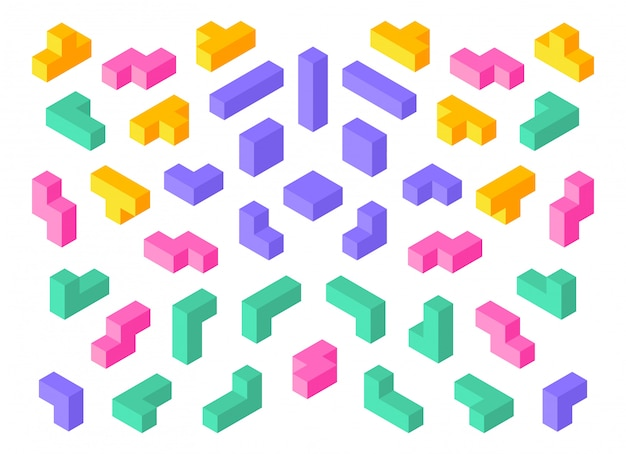 Tetris shapes. isometric 3d puzzle game elements colorful cube abstract blocks.