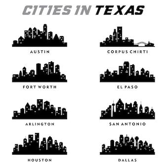 Texas cities silhouette