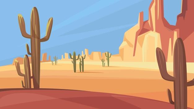 テキサスの砂漠の風景 Premiumベクター