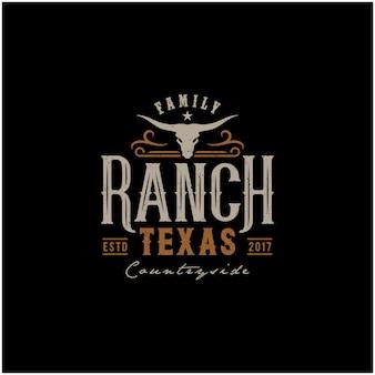 テキサスロングホーン、カントリーウエスタン牛牛ビンテージロゴデザイン