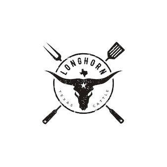Texas longhorn cow, country western bull cattle with spatula and fork for bbq barbecue grill vintage label logo design
