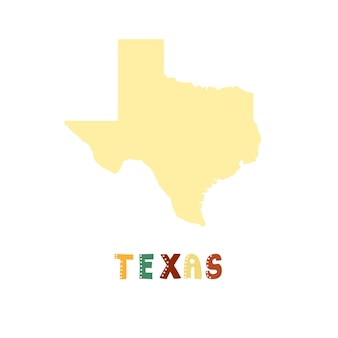 Texas map isolated. usa collection. map of texas - yellow silhouette. doodling style lettering on white