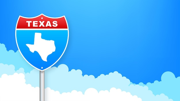 도 표지판에 텍사스 지도입니다. 텍사스 주에 오신 것을 환영합니다. 벡터 일러스트 레이 션.