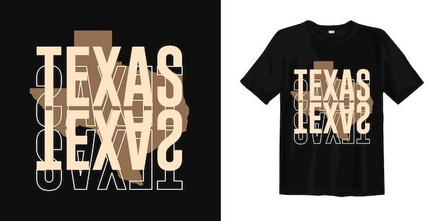 テキサスマップタイポグラフィグラフィックtシャツ