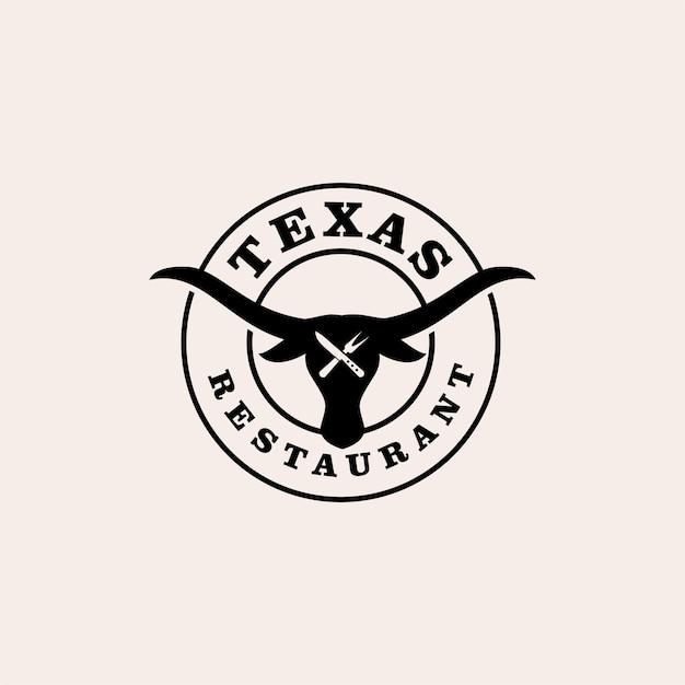 텍사스 레스토랑 프리미엄 빈티지 로고 디자인 벡터
