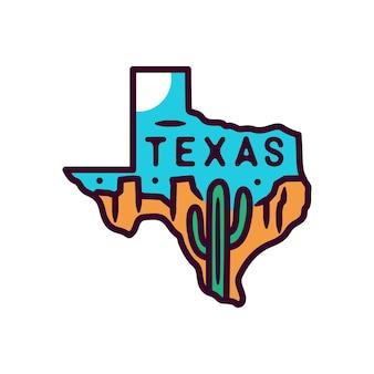 テキサスのステッカーとラベル、モノラインバッジ