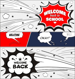 Text back to school. in the style of comics of colorful