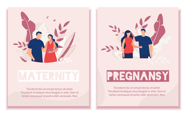 Text banner set advertise pregnancy and maternity