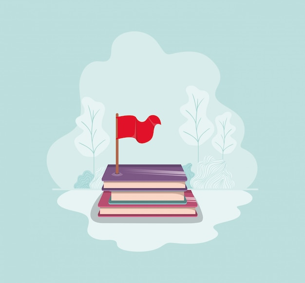 Text book with flag isolate icon
