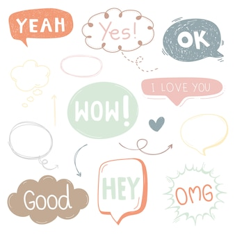 Text box cartoon cute bubble and talk icon for design.