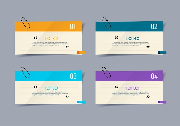 Text box design with note papers infographic