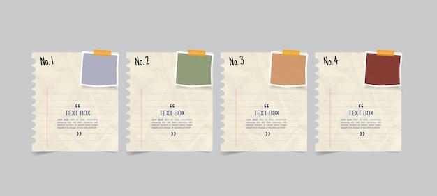 メモ用紙のインフォグラフィックとテキストボックスのデザイン Premiumベクター