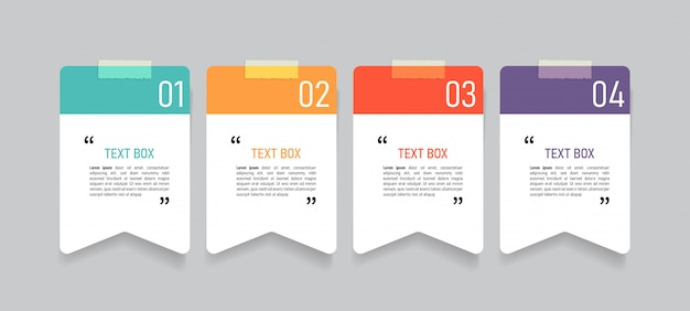 Text box design with note papers.