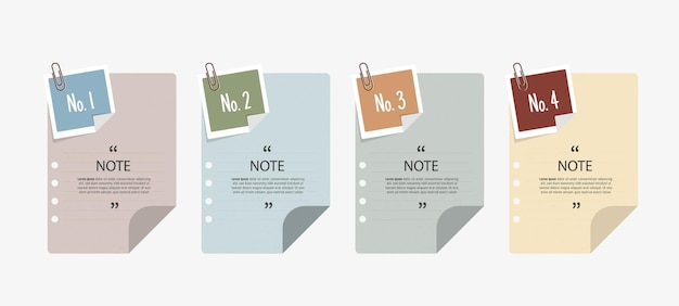 便箋のインフォグラフィックとテキストボックスのデザイン