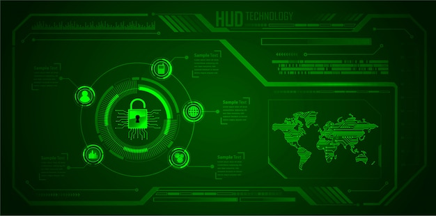Text box, hud internet of things cyber technology, world closed padlock security,