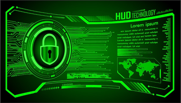 Text box, hud world internet of things cyber technology, closed padlock security,
