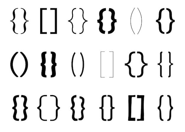 テキストブラケットヴィンテージ中括弧シンボルタイポグラフィ句読点形状