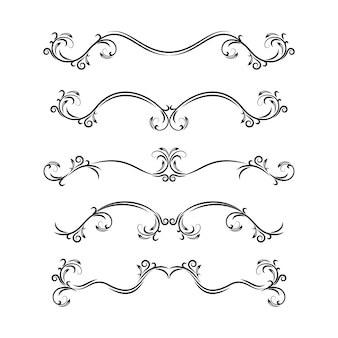 Text dividers. hand drawn collection of vector dividers, bumpers, frames, ornaments