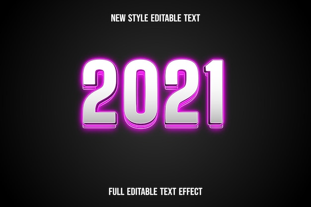 Text effect 3d 2021 color white and pink
