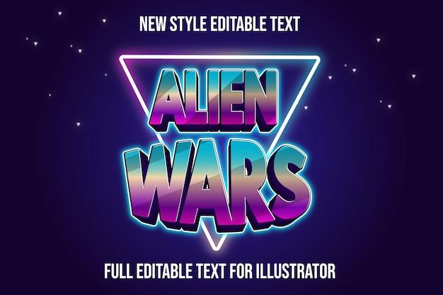 Текстовый эффект 3d инопланетные войны цвет синий и розовый градиент