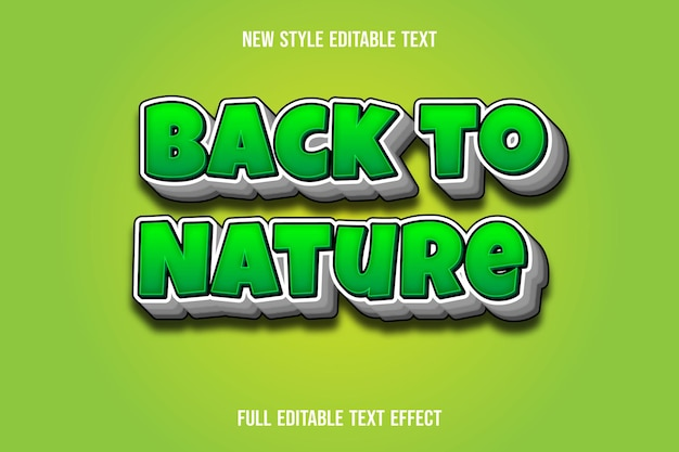 Text effect 3d back to nature color green and white gradient
