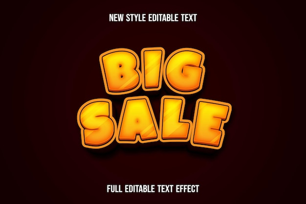 Text effect 3d big sale color yellow and dark red gradient