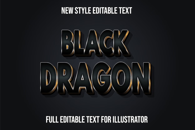 Text effect 3d black dragon color black and gold gradient