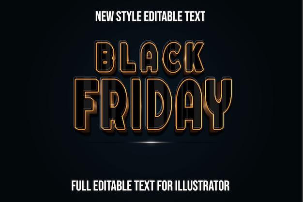 텍스트 효과 3d 검은 금요일 색상 검정과 갈색 그라디언트