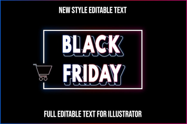 Text effect 3d black friday color white and black gradient
