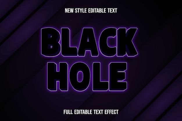 Text effect 3d black hole color black and purple