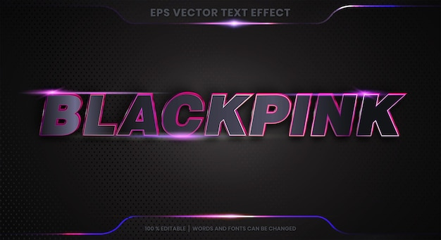Text effect in 3d black pink words font styles theme editable metal gradient pink color concept