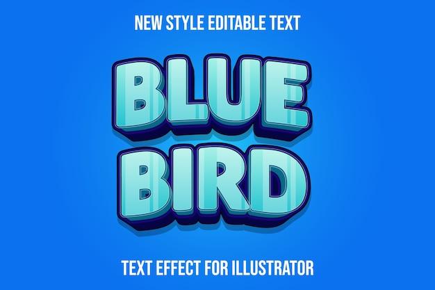Текстовый эффект 3d синяя птица цвет голубой и фиолетовый градиент