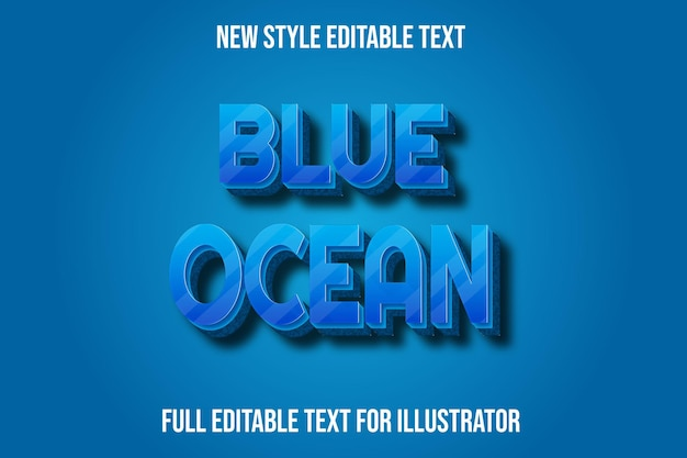 블루 그라데이션에서 텍스트 효과 3d 푸른 바다