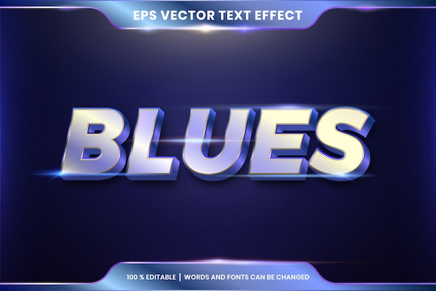 Text effect in 3d blues words text effect theme editable metal red gold color concept