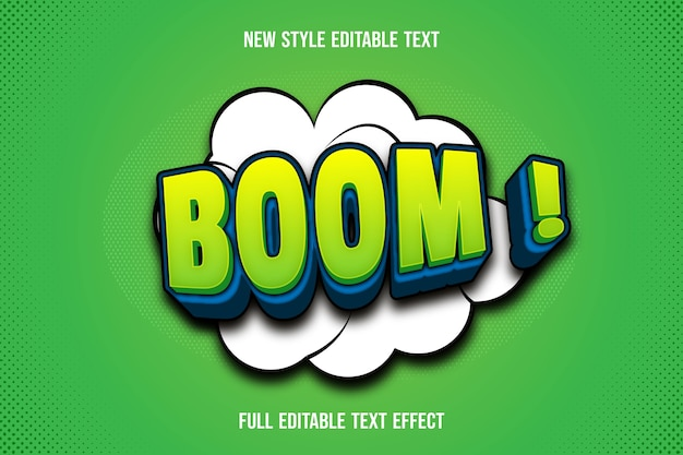 Text effect 3d boom color green and blue gradient