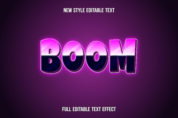 Text effect 3d boom color pink and black gradient