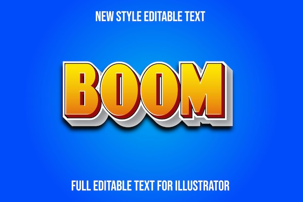 Text effect 3d boom color yellow and white gradient