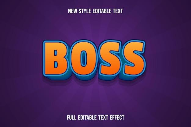 Text effect 3d boss color orange and blue