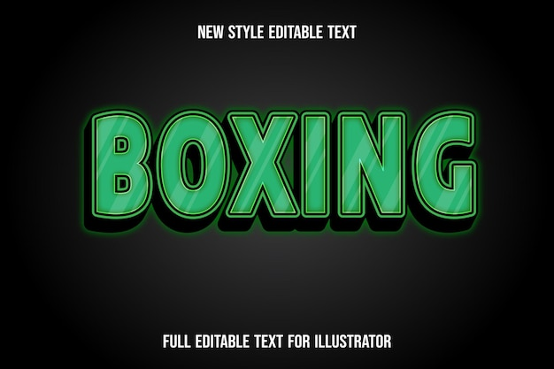 Text effect 3d boxing color green and black gradient