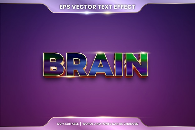 Text effect in 3d brain words, text effect theme editable metal gradient colorful concept