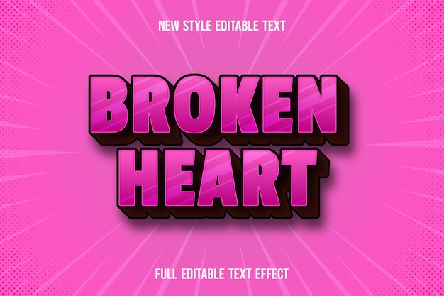 Text effect 3d broken heart color pink and brown