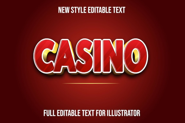 Text effect 3d casino color red and gold gradient